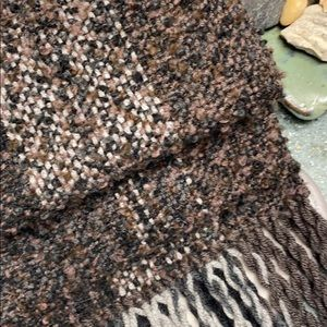 Handwoven chocolate brown black scarf fringed